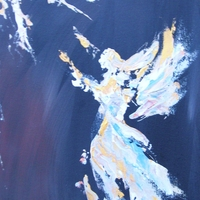 Chris Canovas' angelic abstract paintings in her own unique style