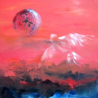 China Moon - Abstract Painting - Private Collection