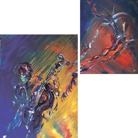 Cello Player - acrylic on canvas jazz & blues artists painting by Jim and Chris