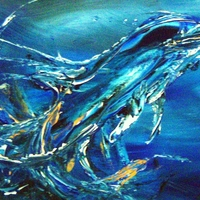 Marine mammals bottlenose dolphins abstract paintings by Jim & Chris