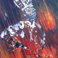 Chef in hot kitchen - acrylic culinary painting on canvas by Jim and Chris