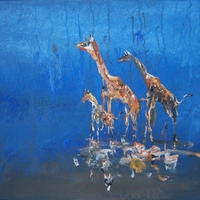 Giraffe Trio - Acrylic African painting on canvas by Chris and Jim