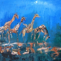 Giraffes - Abstract African Wildlife Painting by chris and Jim