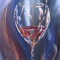 Glass of Wine - acrylic painting on canvas