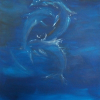 Abstract ocean paintings by James H. Klippel and Christine P. Canova