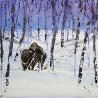"Bison in Snow Covered Forest by Chris Canova and James H. Klippel, 18""x24"""