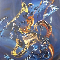 Jazz Players - Acrylic on Canvas Abstract by Jim kliippel and Chris Canova