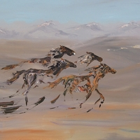 Phantom Mustang Run - Spirit of Wild Horses Past on the Prairie