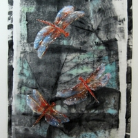 Dragonflies - Flame Skimmer  Acrylic on rice paper