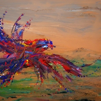 Bird in flight over Africa - Acrylic painting, by James Klippel, Chris Canova