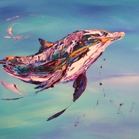 Abstract impressionist dolphin art by Chris Canova and Jim Klippel