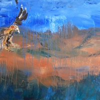 Bird flying over African landscape - Acrylic painting on canvas by Chris and Jim