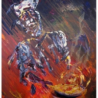 Chef - Acrylic painting on Canvas,Bon Appetite', paintings by Chris and Jim