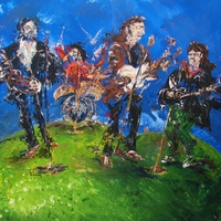 James H. Klippel paints The Beatles, abstract acrylic