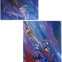 Trumpet Player - Acrylic on Canvas two pcs. by Jim and Chris