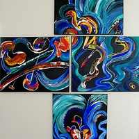 Multi Canvas Abstract painting, James H. Klippel and Christine P. Canova